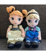 """Disney Store Frozen Young Elsa and Anna Toddler Plush Dolls Stuffed 13"""" Soft - $29.69"""