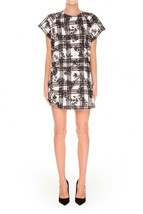 Finders Keepers Surrender Black White Floral Plaid Draped Shift Shirt Dr... - €16,66 EUR