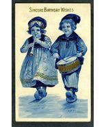 1914 Greeting Birthday Card Antique Correspondence Germany SB 7144  Drum... - $9.99