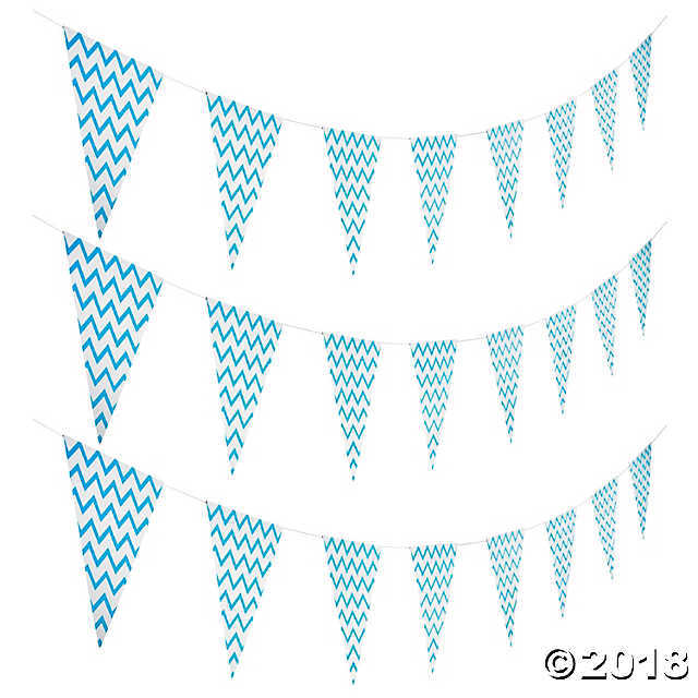 New Light Blue Chevron Pennant Banner - $3.46