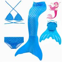 Kids Fancy Blue Mermaid Tails Swimming with Monofin Flippers Little Mermaid   - $29.99+