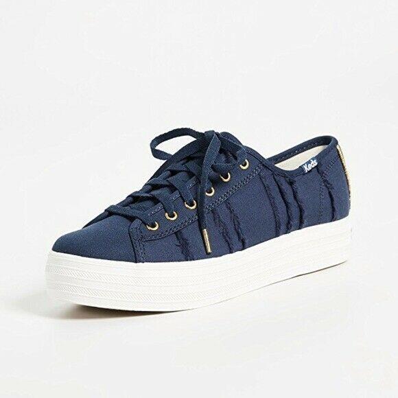 Keds WF58052 Women's Triple Kick Eyelash Canvas Indigo Shoes, 9.5 Med