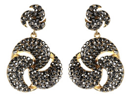 Amrita Singh Gold Tone Gunmetal Crystal  Per Se Dangle Earrings ERC 4072 NWT  - $19.31