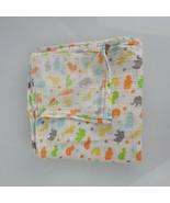 Carters White Muslin Baby Blanket Swaddle Wrap Zoo Jungle Animal Orange ... - $34.64