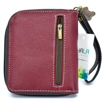 Chala Handbags Faux Leather Ivory Paw Print on Maroon Zip Around Wristlet Wallet image 2