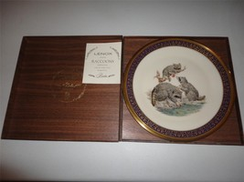 Lenox 1973 Edward Boehm Woodland Wildlife Raccoons Plate W Box Exlnt 24 K Trim - $24.75