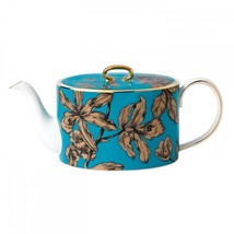Wedgwood Vibrance Turquoise Teapot, Covered Sugar, Creamer & 2 Teacups S... - $280.49