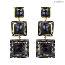 New 1.17 Ct Diamond Pave 925 Sterling Silver gemstone Long Earrings Gold Vintage - $508.68