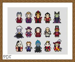 Cross Stitch Pattern Disney Villains Sampler, cross stitch chart PDF - $3.32