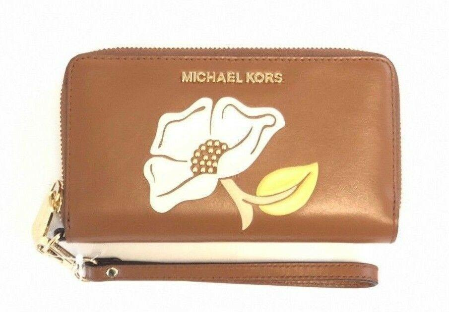 Primary image for Michael Kors Nouveau Floral Large Flat Brown Phone Case Wallet Clutch