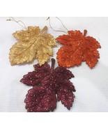 Fall Thanksgiving (3) Glitter Maple Leaf Leaves Ornaments Decoration Decor - $22.99