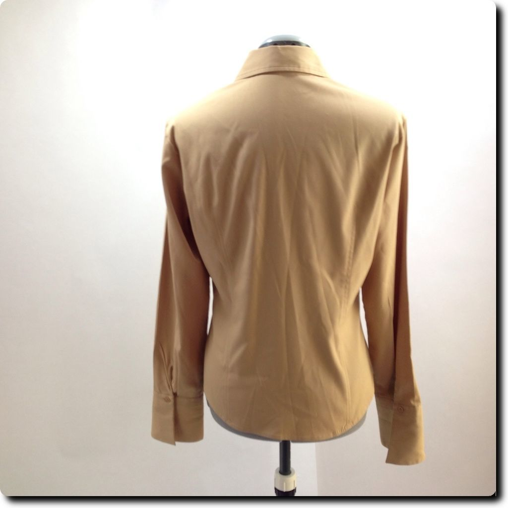 Express Light Brown Fitted Long Sleeve Stretch Top with French Cuffs 10 image 3