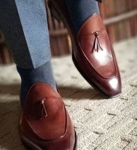 Handmade Men Brown Leather Dress shoes Moccasins, Men brown leather formal shoes - $164.99