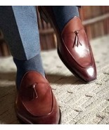 Handmade Men Brown Leather Dress shoes Moccasins, Men brown leather form... - $164.99