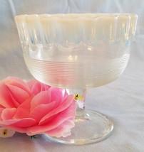 1898 NORTHWOOD GLASS KLONDYKE VASELINE OPALESCENT CRIMPED FOOTED SPOONER - $29.70