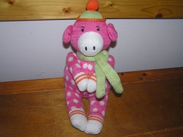 Estate 2010 Midwest Pink Polka Dot Sock Monkey Pig with Scarf & Beanie H... - $8.59
