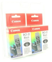 New In Box Canon BCI-21 Black Ink Cartridge Twin Pack (2) ~ New Factory Sealed! - $10.96