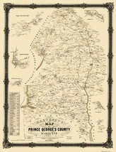 Prince George Maryland Landowner - Martenet 1861 - 23 x 30 - $36.95+