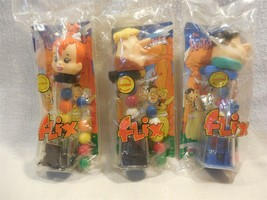 Flintstones 1994 Flix Collectible Gumball Machine Dispenser Set of 3 MIP - $9.95