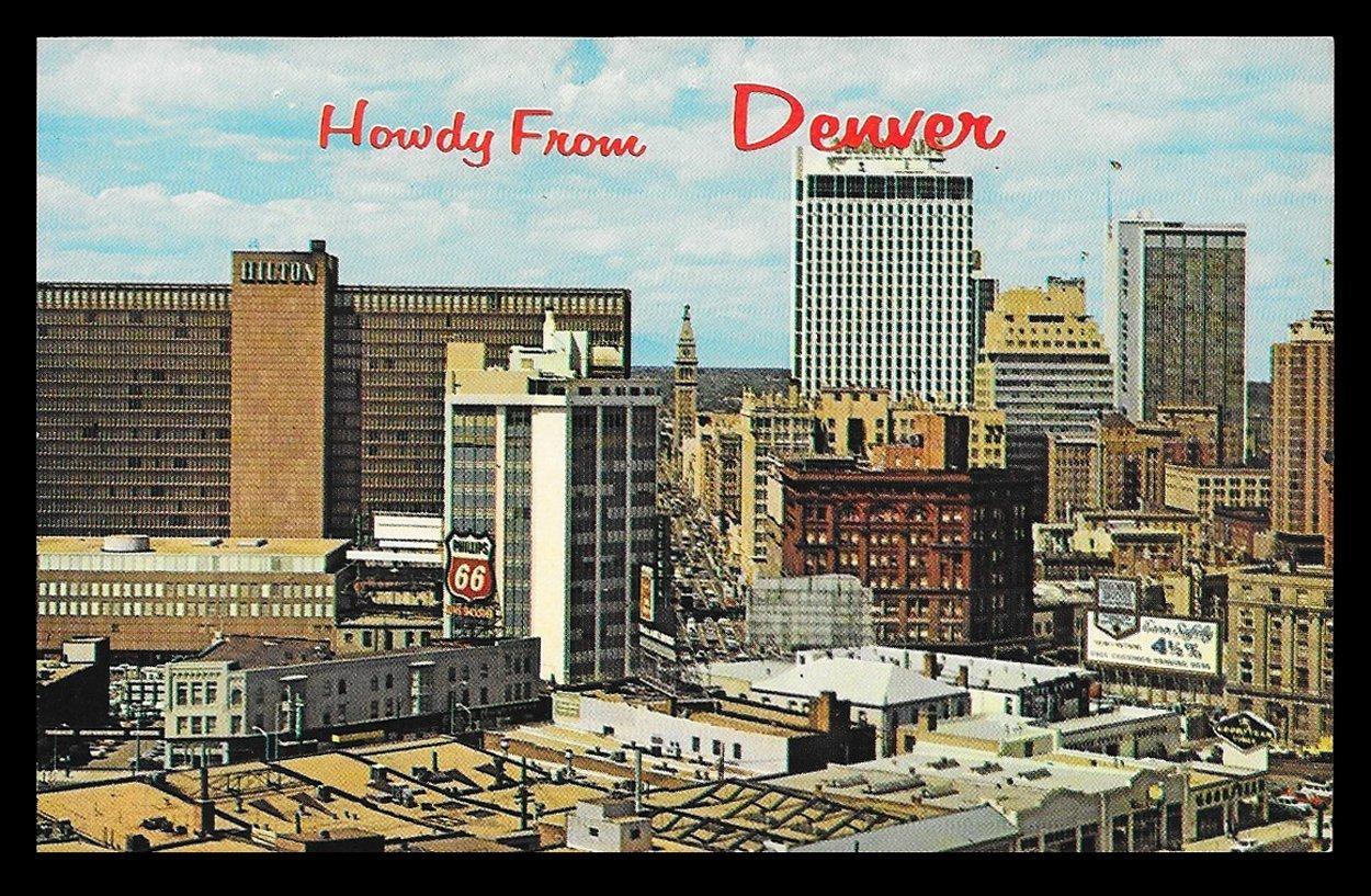 Denver Skyline Postcard Colorado Howdy From Denver CO PC