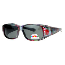 Womens Polarized Fit Over Glasses Sunglasses Rhinestones Floral Prints - $14.95