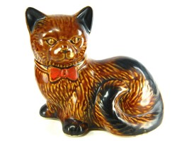Vintage Porcelain Kitty Cat Kitten Feline Figurine Brown Black Red Bow Tie - $34.60