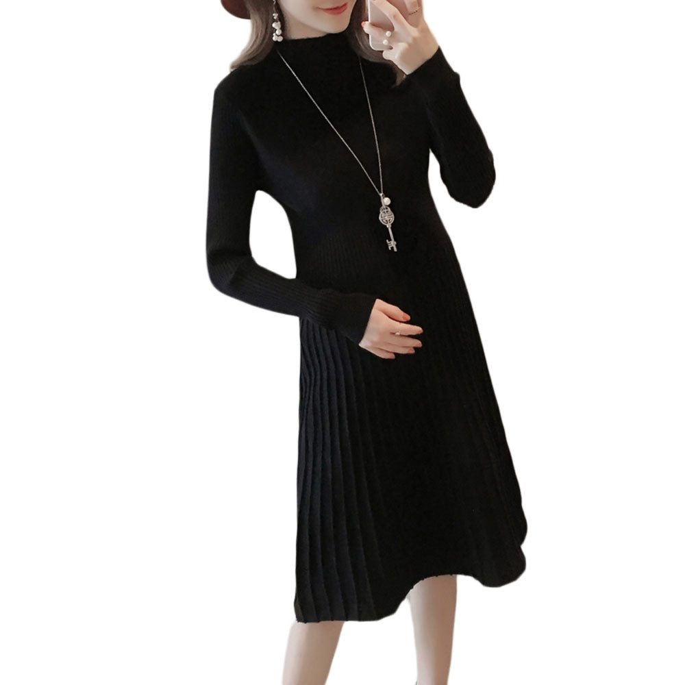 Maternity's Aline Dress Slim Long Sleeve Solid Color Dress