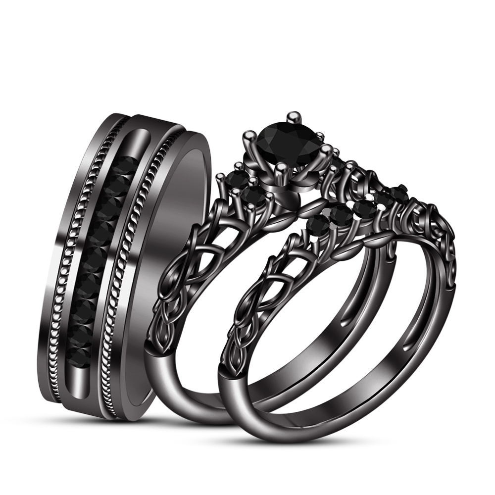 Primary image for His & Her Wedding Band Trio Ring Set Diamond 14K Black Gold Plated 925 Silver