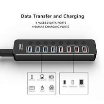 Powered USB Hub 3.0, atolla Aluminum 8-Port USB Hub with 4 USB 3.0 Data Ports an image 4