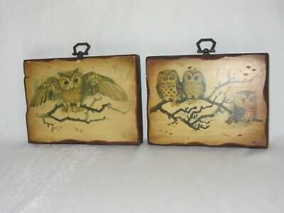 Primary image for 2 Vintage Retro Wood Wall Hanging Plaque Decor Painted Owl Figures Dove Calif