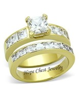 HCJ WOMENS GOLD TONE 1.3 CT PRINCESS CUT CZ ENGAGEMENT WEDDING RING SET ... - $23.49