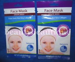 Lot of 2 Grape Seed Face Masks/Aloe Vera,Collagen/15 Min, Refreshing Face Mask - $8.59