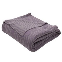 Diva At Home Fossil Gray and Plum Purple Geometric Patterned Throw Blank... - €75,11 EUR