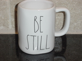 Rae Dunn BE STILL Rustic Mug, Ivory with Black Letters, New! - $13.00