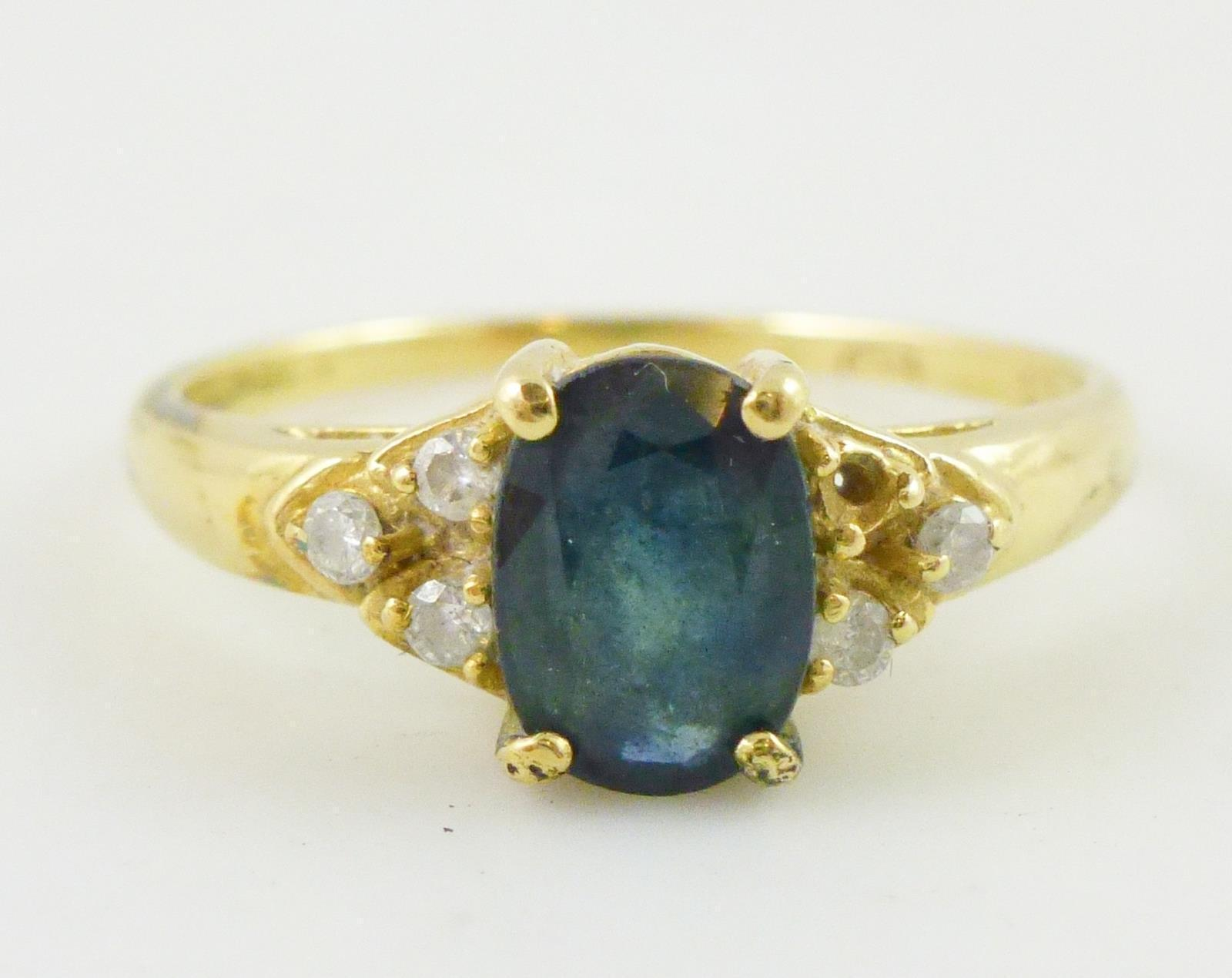 14K Yellow GOLD Blue Oval-cut SAPPHIRE and MOISSANITE Accent RING - Size 6.25