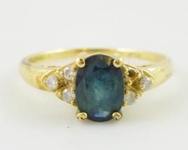14K Yellow GOLD Blue Oval-cut SAPPHIRE and MOISSANITE Accent RING - Size... - $125.00