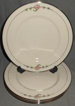 Set (4) Ransgil China JUNE ROSE PATTERN Dinner Plates PLATINUM TRIM - $98.99