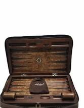 """Luxury Helena Wood Art Handmade Genius Backgammon Set w/ Case Large 23"""" x 15"""" image 2"""