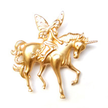 Brooch Fairytale Fantasy Unicorn Angel Fairy Nymph Frosted Gold Lovely Suit Pin - $8.99