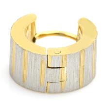 UNITED ELEGANCE Stylish Two Tone (Silver & Gold Tone) Huggie Hoop Earrings image 3