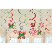 Candy Cane 12 Ct Hanging Swirls Decorations Value Pack - $5.99