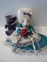"Vintage 1970s Homemade stuffed 16"" Mouse with Blue Mouse Friend MInt - $9.89"