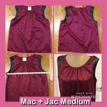 Ladies Jac + Mac Sleeveless Top Maroon Black Trim Medium 100% Polyester - $4.94
