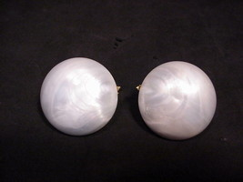 Trifari Crown Earrings Clip On White Pearlized Lucite Acrylic Large Size... - $19.31