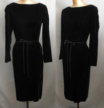 Vintage 50s Cocktail Dress Black Velvet Wiggle Dress by R K Originals Small - $49.99