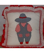 Accent Pillow  Handmade With Embroidered Farmer 14 inch - $24.70