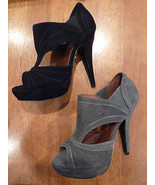 DIAVOLINA 'SONIA' SUEDE HIGH HEEL PLATFORM SOLE CUT OUT SHOE  UK 4   RET... - $34.47
