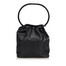 Vintage Gucci Black Others Leather Ring Handle Shoulder Bag Italy - $359.04