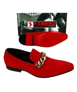 Men's New Fashion Fiesso Suede Red Slip on Shoes with Gold Studs Chain F... - $119.99