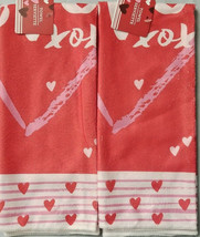 "LOVE 2 sets of XO XO Hearts Kitchen Towels 15"" X 25""  - $7.00"